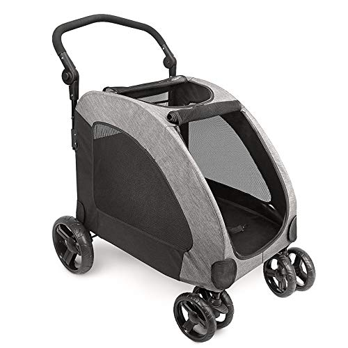 IREENUO Dog Stroller, Four-wheeled Dog Pram Foldable Carts Pet Pushchairs for Medium Large Dogs Traveling - Gray