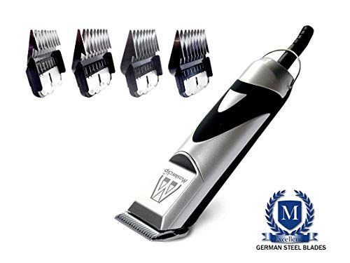 Masterclip Pedigree Pro Professional Dog Clipper Set with 10F German Steel blade and 4 Metal Comb Guides Guards
