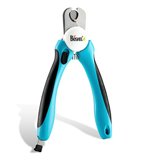 Dog Nail Clippers and Trimmer By Boshel - with Safety Guards to Avoid Over-cutting Nails & Free Nail File - Razor Sharp Blades - Sturdy Non Slip Handles - For Safe, Professional at home Grooming