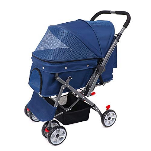 Wooce Pet Four-wheeled Reversible Trolley Cats Dogs Carts Shockproof Durable Stroller Adjustable Direction,One-click Folding,Quick Installation,Suitable For Travel (Blue)