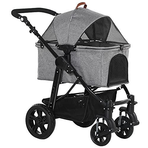 PawHut Dog Stroller Pushchair Detachable Pet Carrier Carrying Bag Foldable Trolley Shock absorbing System Adjustable Handlebar Grey